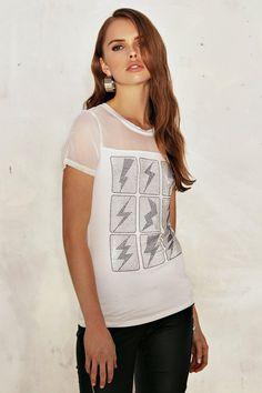 Lightening Bolt Studded Mesh T-Shirt ($30)