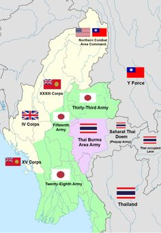 Map of the Burma front showing the conflict of Japanese-Thai and Allied forces.