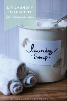 DIY laundry detergent for sensitive skin. Borax free. Works amazingly on stains and doesn't irritate eczema.