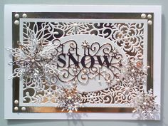Let it snow and Sue Wilson new Christmas collection 2015 Christmas Card Crafts, Merry Christmas Card, Christmas Cards To Make, Xmas Cards, Handmade Christmas, Christmas 2016, Christmas Ideas, Snowflake Cards, Snowflake Background