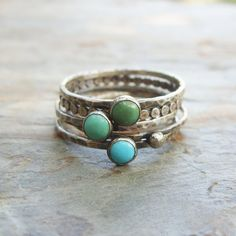 Tricolor Turquoise Stacking Rings in Antiqued by brightsmith