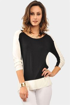 Contrasting It Top - Ivory/Black
