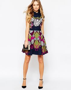 a4b0c784c6aee2 Image 4 of Ted Baker Daywin Surreal Tapestry Skater Dress Skater Dress