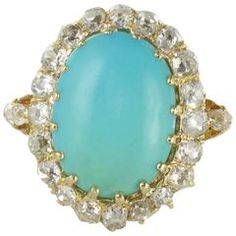 Antique Turquoise Cabochon Diamond Gold Ring 9