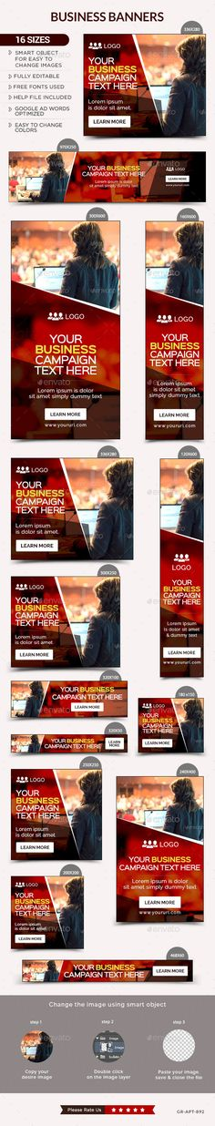 Business Web Banners Template #design #ads Download: http://graphicriver.net/item/business-banners/12961004?ref=ksioks