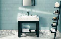 Frosted Sky bathroom wall tile in zen bathroom