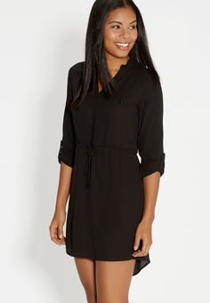 shirtdress with adjustable tie waist in black (original price, $39.00) available at #Maurices