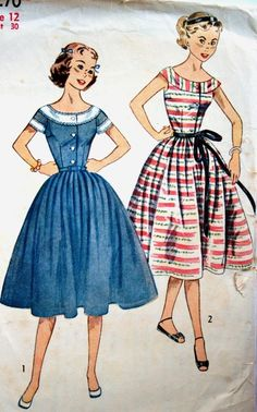 As a teen, I wore hand-me-down dresses from the '50s and loved the styles, the voluminous fabric, the full skirts that swung when I walked, the details which made them so unique. Those dresses made me feel so good while wearing them, the true purpose of fashion. {Vintage Fashion Illustration | sewing pattern}