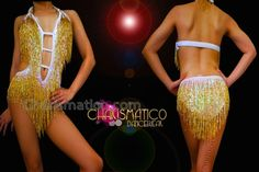 faf989511355 Charismatico Dancewear Store - CHARISMATICO Iridescent White Sequined  Metallic Gold Beaded Fringe Latin Dance Leotard,