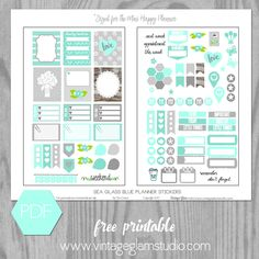 Free Printable Sea Glass Blue Planner Stickers for the Mini Happy Planner from Vintage Glam Studio