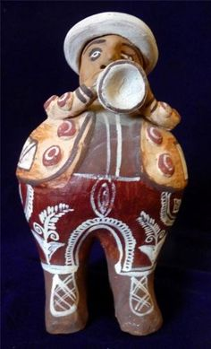 Mexican Terra Cotta Pottery Man Wearing A Hat Blowing A Horn Hand Painted