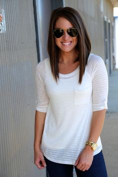 Pin Stripe Pocket Top {White}