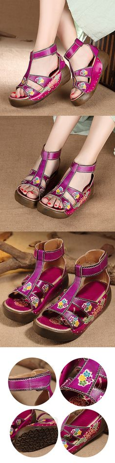 US$51.12   SOCOFY Hollow Out Open Toe Platform Folkways Vintage Sandals