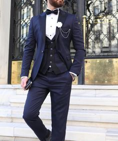 Available Size : Suit material : wool, polyester Machine washable : No Fitting : slim-fit Cutting : double slits, cover pocket, double button Remarks : Dry Cleaner Tuxedo Suit For Wedding, Groom Tuxedo, Tuxedo For Men, Wedding Suits, Mens Fashion Suits, Mens Suits, Suit Men, Men's Fashion, Reception Suits