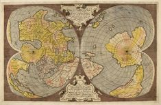 Gerhard Mercator and Antoine Lafréry. Double-cordiform world map. Kingdom Of Heaven, Heaven On Earth, Landscape And Urbanism, Art And Architecture, Archaeology, Color Inspiration, Heart Shapes, Medieval, Brazil