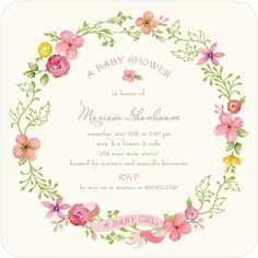 Pretty Wreath garden themed baby shower invitation by Lady Jae Designs for Tiny Prints Shower Party, Baby Shower Parties, Baby Shower Themes, Shower Ideas, Shower Time, Birthday Party Invitations, Birthday Parties, Birthday Ideas, Wedding Invitations