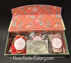 Live with All Your Heart Gift Box. Goodies inside. Foil hearts, heart shaped sugar cookies, hand crafted chocolate bar we make with Ghirardelli and mini red velvet cake loaf with buttercream glaze.