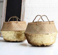 画像1: Gold Sequin Straw Bag スパンコール付かごカゴバッグ