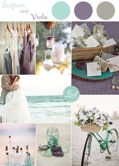 seafoam green and viola purple beach themed wedding color ideas