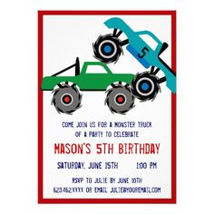 Cool Monster Trucks Birthday Party Invitations SOLD on Zazzle