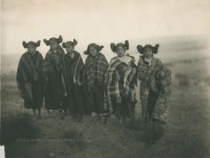 group of Hopi unmarried girls. American native Indian . old photo. 19th century