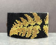 Seed Bead Bracelet Beaded Cuff Gold and Black Botanical Beaded Cuff Bracelet, Seed Bead Bracelets, Seed Bead Jewelry, Statement Jewelry, Boho Jewelry, Seed Beads, Jewelry Gifts, Beaded Jewelry, Rings