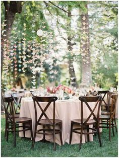 outdoor, wedding, whimsical, reception, decor, origami,