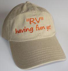 "Custom embroidered hats / caps, ""RV"" having fun yet? by CreativeSenseCom on Etsy"