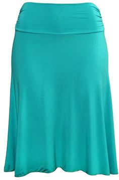 Stretch is Comfort Women's Plus Size Knee Length Flowy Skirt Turquoise 2X