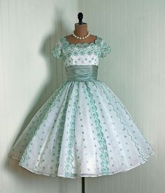 1950's White and Sage-Green Embroidered Chiffon over Taffeta Party/Prom Dress