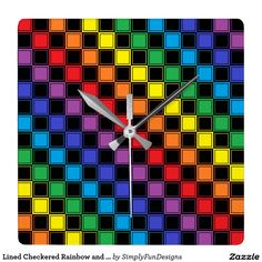 Lined Checkered Rainbow and Black Square Wall Clock