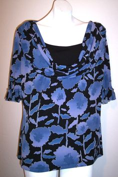East 5th Top XL Floral Stretch Knit Draped Neckline Shirt Blouse Women's Size XL #East5th #KnitTop #Casual