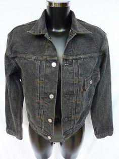 Veste en jean noir, gris anthracite, LEVI S, Vintage, Années 90 - Taille bb9db9cde60