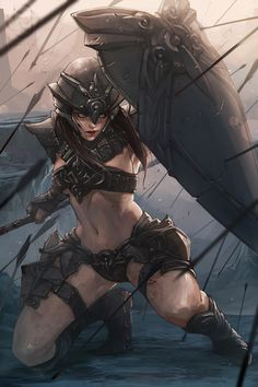 Today, we would like to start our inspiration section with the art of south korean fantasy artist, Jee-Hyung Lee. Fantasy Artwork, 3d Fantasy, Fantasy Kunst, Fantasy Warrior, Fantasy Women, Fantasy Girl, Fantasy Fighter, Female Fighter, Character Inspiration