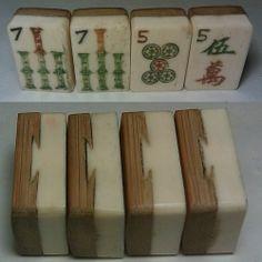 Thick Bone Tile Set - Bone & Bamboo -Craft Project Refill -1920s -Mah Jong Jongg