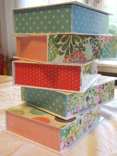 decoupage boxes of hearts by Katie-Claire's Cottage, via Flickr