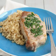 Tracey's Culinary Adventures: Skillet Pork Chops and Rice with Parsley Butter