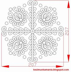 Hungarian folk embroidery pattern from Transylvania Hungarian Embroidery, Folk Embroidery, Learn Embroidery, Hand Embroidery Patterns, Lace Patterns, Cross Stitch Patterns, Chain Stitch Embroidery, Embroidery Stitches, Stitch Head