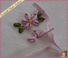 Ribbon Embroidery Flowers by Hand - Embroidery Patterns Ribbon Embroidery Tutorial, Hand Embroidery Stitches, Silk Ribbon Embroidery, Cross Stitch Embroidery, Embroidery Patterns, Embroidery Tattoo, Crewel Embroidery, Machine Embroidery, Ribbon Art