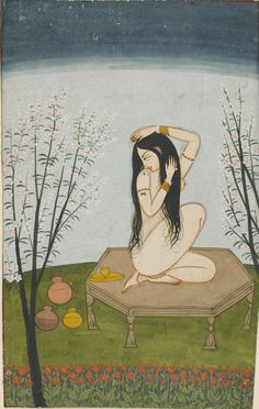 Woman Bathing ca. 1820 color on paper Guler, Punjab Hills, India Art And Illustration, Illustrations, Mughal Paintings, India Painting, Street Art, India Art, Mystique, Chef D Oeuvre, Orient