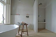 Lichte kleur beton-cire voor badkamer salle de bain