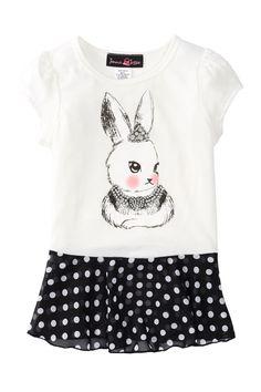 Jenna & Jessie | Bunny Short Sleeve Top (Toddler Girls) | Nordstrom Rack