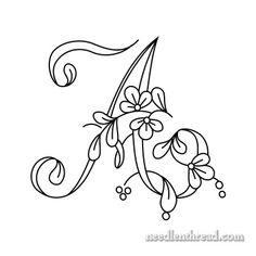 (^_^) Floral Script Monogram A - Letters A - H only