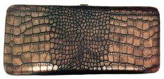 Brown Snake Skin Print Leather Flat Hard Clutch Wallet