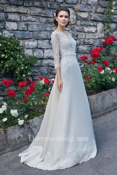 A-Line Floor-Length V-Neck Illusion-Sleeve Zipper Satin Dress With Appliques And Beading - Dorris Wedding