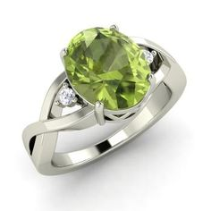 Oval-Cut Peridot  and Diamond  Sidestone Ring in 14k White Gold