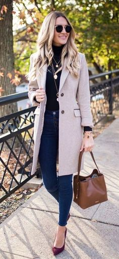 #winter #outfits beige blazer and blue denim jeans