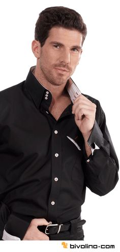 392f7fbc5a166c The black tailored shirt with a high collar 3 buttons and trim inside  collar and cuffs. The Bivolino bespoke black shirt. Get inspired!