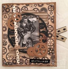 Paper bag card with motor cycle