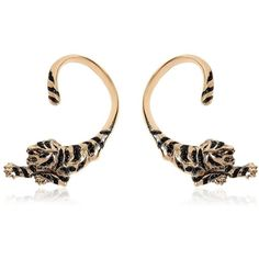 ROBERTO CAVALLI Tiger Ear Cuff Earrings ($640) ❤ liked on Polyvore featuring jewelry, earrings, roberto cavalli, antique jewelry, swarovski crystal jewelry, antique earrings and antique jewellery